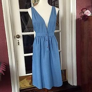 🍁Polagram Blue Denim Chambray Overall Midi Dress